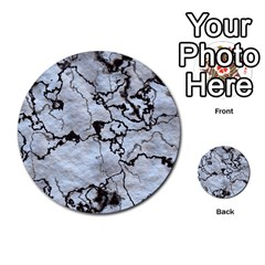 Marbled Lava White Black Multi-purpose Cards (Round)