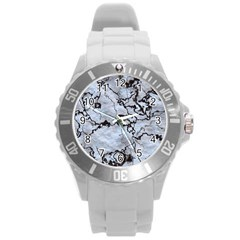 Marbled Lava White Black Round Plastic Sport Watch (L)