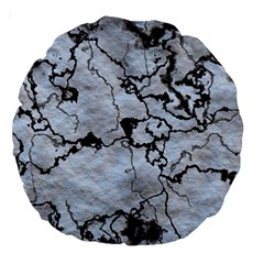 Marbled Lava White Black Large 18  Premium Round Cushions