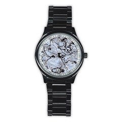 Marbled Lava White Black Stainless Steel Round Watches