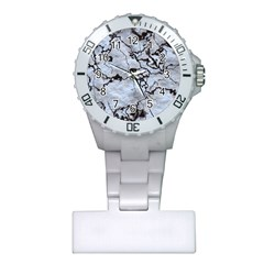 Marbled Lava White Black Nurses Watches