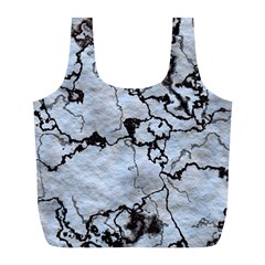 Marbled Lava White Black Full Print Recycle Bags (L)