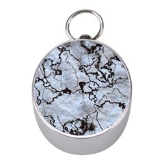Marbled Lava White Black Mini Silver Compasses