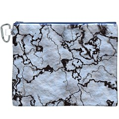 Marbled Lava White Black Canvas Cosmetic Bag (XXXL)
