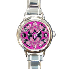 Pink Black Abstract  Round Italian Charm Watches