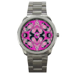 Pink Black Abstract  Sport Metal Watches