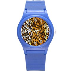 Brown Cheetah Abstract  Round Plastic Sport Watch (S)