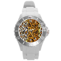 Brown Cheetah Abstract  Round Plastic Sport Watch (l)