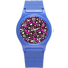 Pink Black Cheetah Abstract  Round Plastic Sport Watch (S)