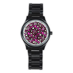 Pink Black Cheetah Abstract  Stainless Steel Round Watches