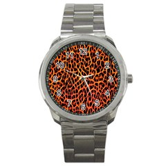 Red and Black Abstract  Sport Metal Watches