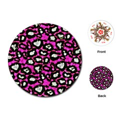 Pink Black Cheetah Abstract  Playing Cards (Round)