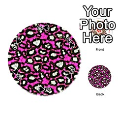 Pink Black Cheetah Abstract  Playing Cards 54 (Round)