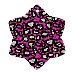 Pink Black Cheetah Abstract  Ornament (snowflake)