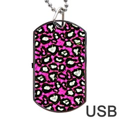 Pink Black Cheetah Abstract  Dog Tag Usb Flash (one Side)