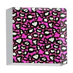 Pink Black Cheetah Abstract  5  x 5  Acrylic Photo Blocks