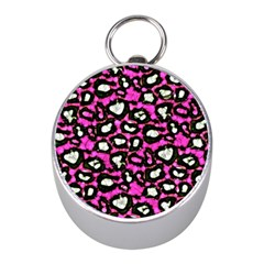 Pink Black Cheetah Abstract  Mini Silver Compasses