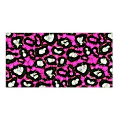 Pink Black Cheetah Abstract  Satin Shawl