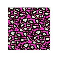 Pink Black Cheetah Abstract  Small Satin Scarf (Square)