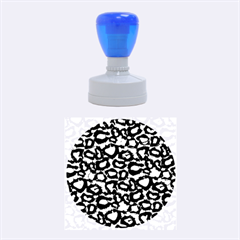 Turquoise Black Cheetah Abstract  Rubber Round Stamps (Medium)