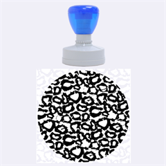 Turquoise Black Cheetah Abstract  Rubber Round Stamps (Large)