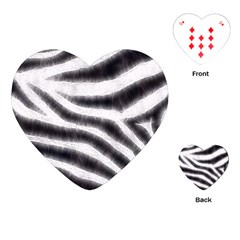 Black&White Zebra Abstract Pattern  Playing Cards (Heart)