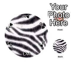 Black&white Zebra Abstract Pattern  Playing Cards 54 (round)