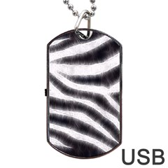 Black&White Zebra Abstract Pattern  Dog Tag USB Flash (Two Sides)