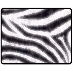 Black&White Zebra Abstract Pattern  Double Sided Fleece Blanket (Medium)