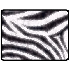 Black&White Zebra Abstract Pattern  Double Sided Fleece Blanket (Large)