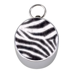 Black&White Zebra Abstract Pattern  Mini Silver Compasses