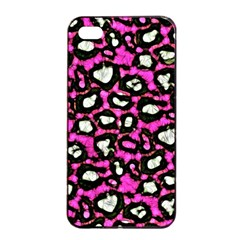 Pink Black Cheetah Abstract  Apple Iphone 4/4s Seamless Case (black)