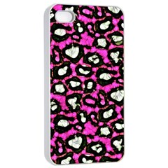 Pink Black Cheetah Abstract  Apple Iphone 4/4s Seamless Case (white)