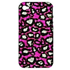 Pink Black Cheetah Abstract  Apple iPhone 4/4S Hardshell Case (PC+Silicone)