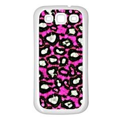 Pink Black Cheetah Abstract  Samsung Galaxy S3 Back Case (White)