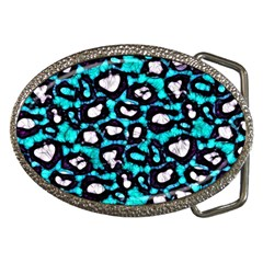 Turquoise Blue Cheetah Abstract  Belt Buckles