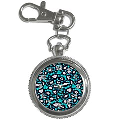 Turquoise Blue Cheetah Abstract  Key Chain Watches