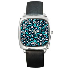 Turquoise Blue Cheetah Abstract  Square Metal Watches