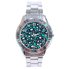 Turquoise Blue Cheetah Abstract  Stainless Steel Men s Watch