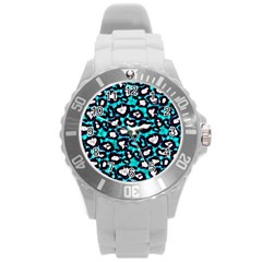 Turquoise Blue Cheetah Abstract  Round Plastic Sport Watch (L)