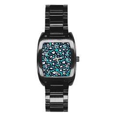 Turquoise Blue Cheetah Abstract  Stainless Steel Barrel Watch