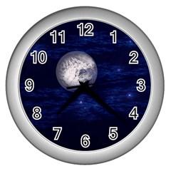 Moon And Stars Wall Clocks (silver)