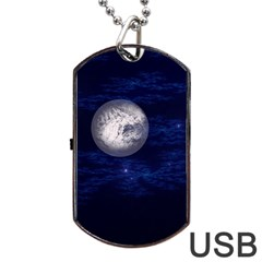 Moon And Stars Dog Tag Usb Flash (one Side)