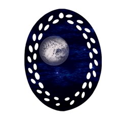 Moon And Stars Oval Filigree Ornament (2 Side)