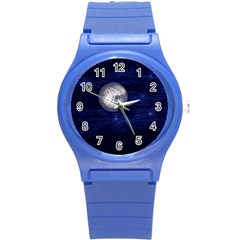 Moon And Stars Round Plastic Sport Watch (s)
