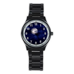 Moon And Stars Stainless Steel Round Watches