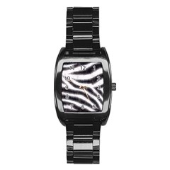 Black&White Zebra Abstract Pattern  Stainless Steel Barrel Watch