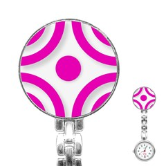 Pink White abstract unique patterns  Stainless Steel Nurses Watches