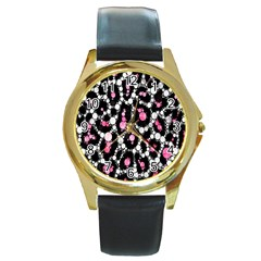Pink Cheetah Bling  Round Gold Metal Watches