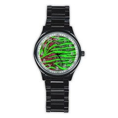 Florescent Green Zebra Print Abstract  Stainless Steel Round Watches